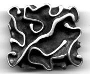 "Sterling Silver Belt Buckle, carved in very deep relief, with only the tops of each ""rib"" polished."