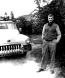 Harold with his convertible in the 1950s.  Click on image to enlarge.